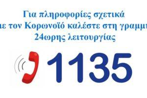 Κορονωιός covid 19 - Τηλέφωνο 1135